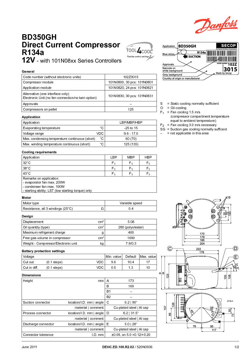 Технические характеристики и размеры герметичного поршневого компрессора постоянного тока (12-24В) Danfoss BD350GH24