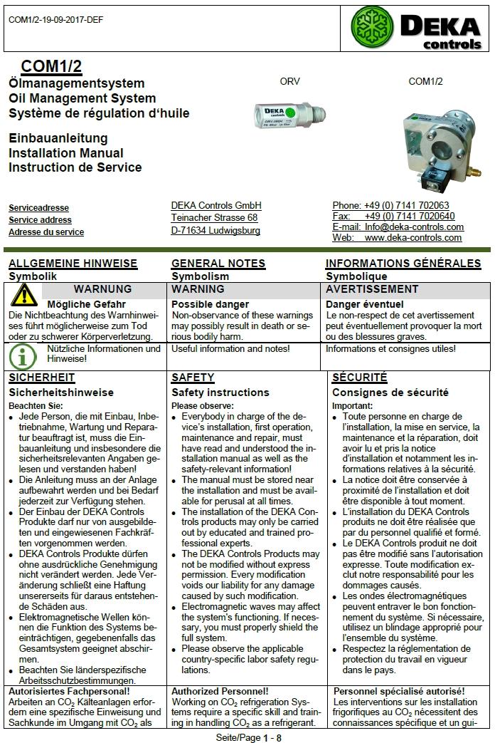 Электронные регуляторы уровня масла DEKA (Инструкция по установке)