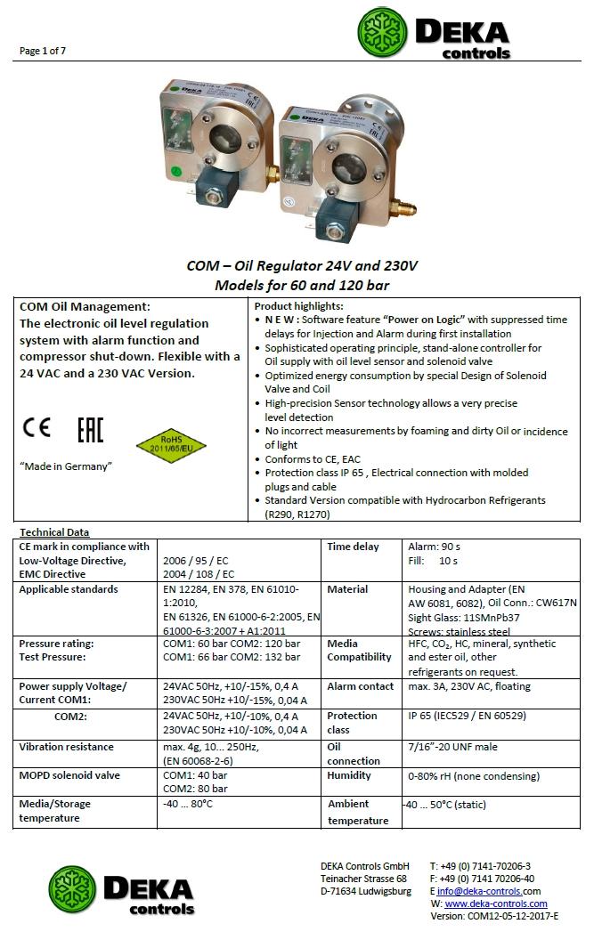 Электронные регуляторы уровня масла DEKA (Техническая информация)