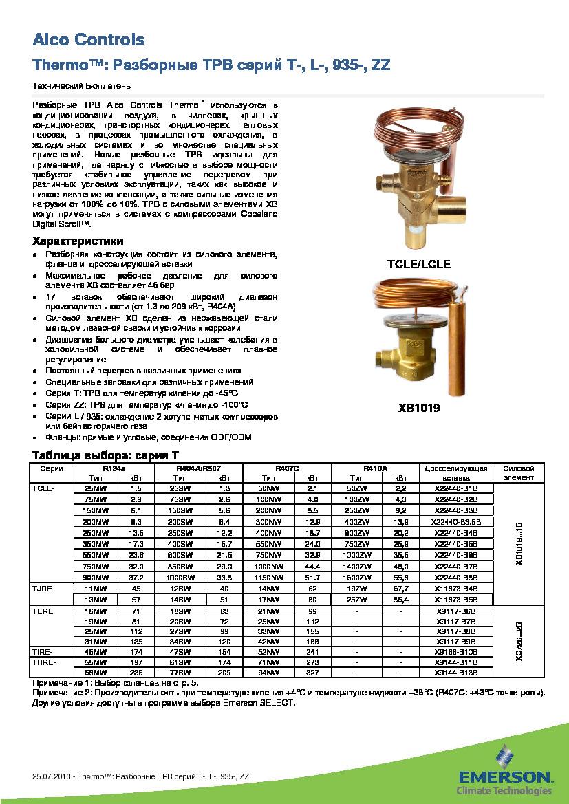 Разборные ТРВ Alco Controls серий T, L, 935 и ZZ
