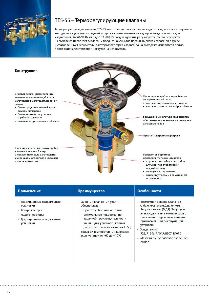 Термостатические расширительные клапаны DANFOSS TE 5 - TE 55