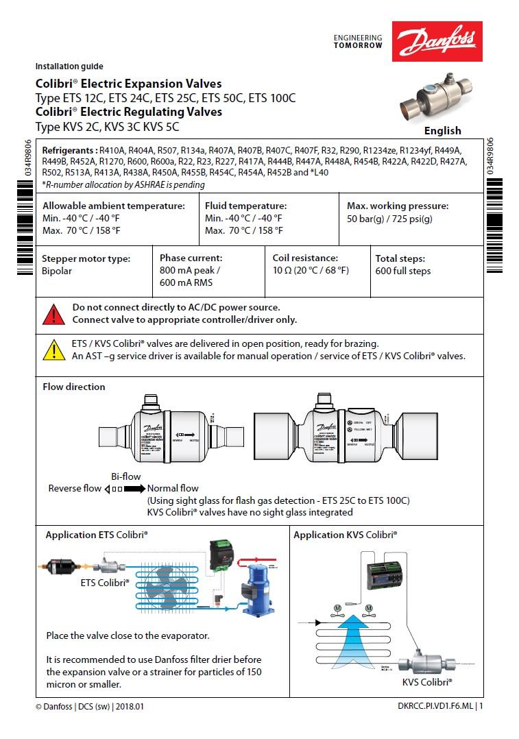 Электронные расширительные клапаны Danfoss ETS Colibri (инструкция по установке)